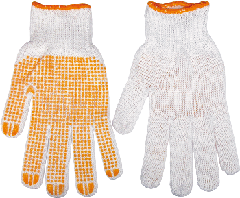 Working gloves, one side rubber dotted