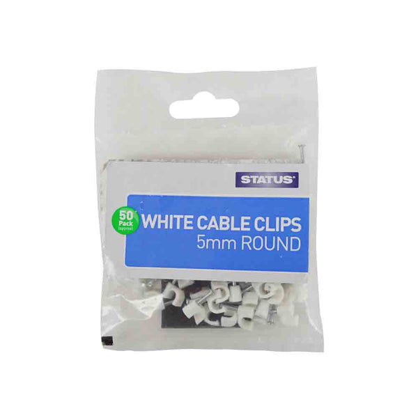 Cable Clips Round White 5mm
