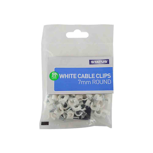 Cable Clips Round White 7mm