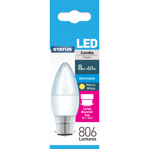 Status LED Candle BC 8W Dimmable