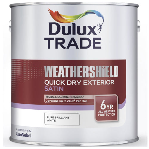 Dulux Trade Weathershield Satin Pure Brilliant White 2.5L