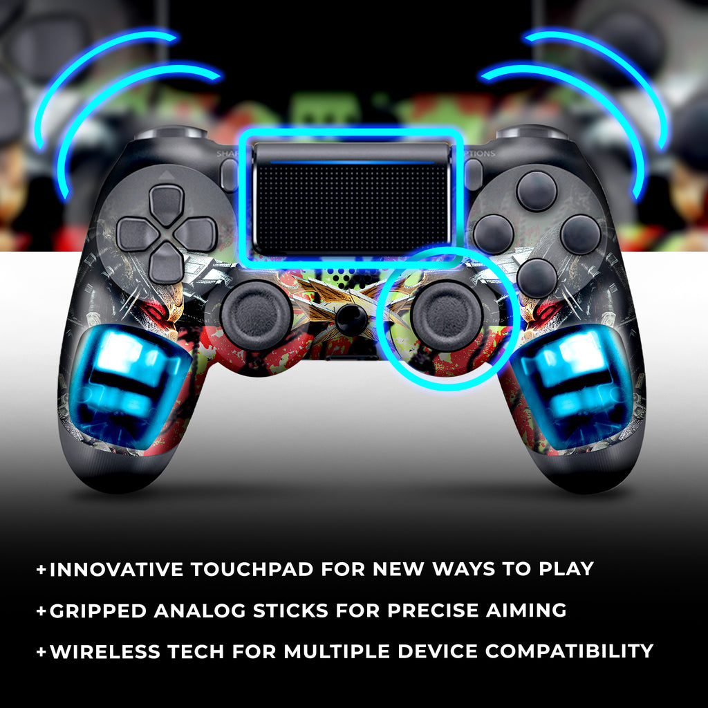 Authentic, Smooth & Easy To Use Wireless PS4 Custom Regular / Modded Controller With Exclusive Design - Predator