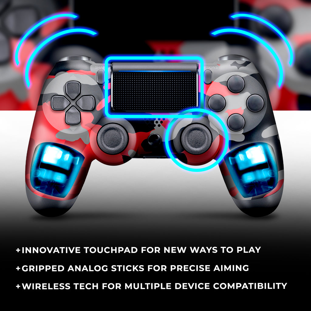 Authentic, Smooth & Easy To Use Wireless PS4 Custom Regular / Modded Controller With Exclusive Design - Red Camo