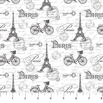 Ooh La La! Eiffel Tower and Bicycles on White
