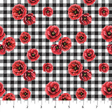 Ooh La La! Poppies on Plaid