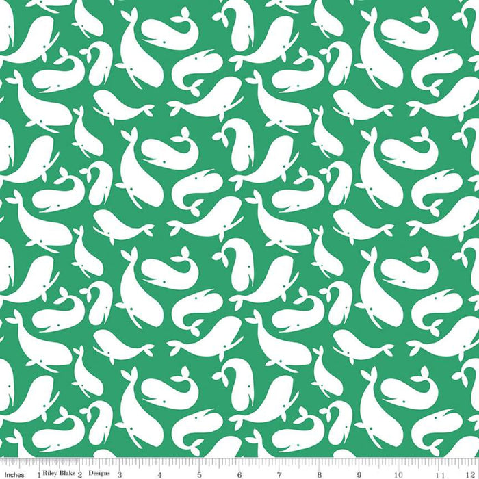 Ahoy! Mermaids Whales Green
