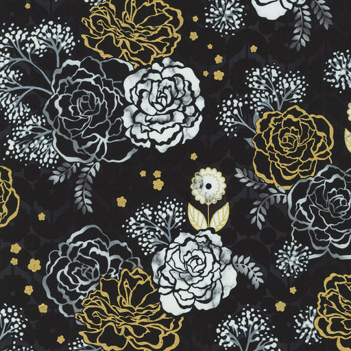 Silverstone Floral Mix with Metallic in Onyx