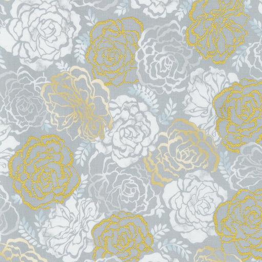 Silverstone Large Floral with Metallic in Taupe
