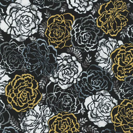 Silverstone Large Floral with Metallic in Onyx