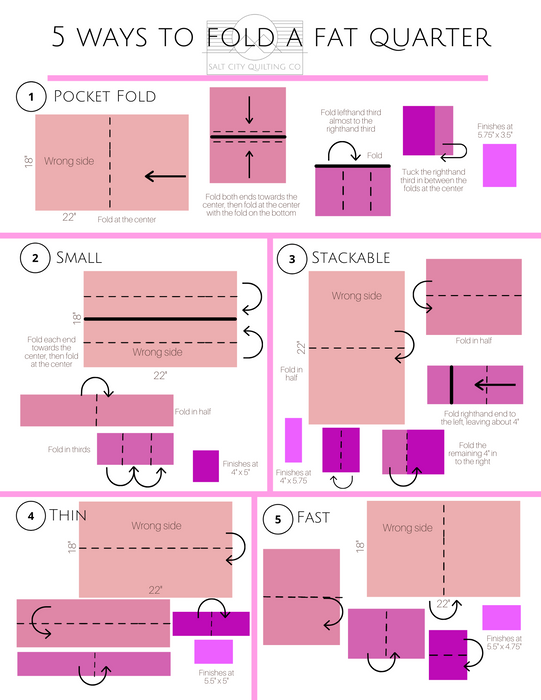 5 Ways to Fold a Fat Quarter (in color!)