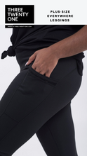 Load image into Gallery viewer, Plus size black leggings (Comes in sizes XL, 1XL, 2XL) • Contoured seams • 4-way stretch • High waisted & ultra soft • Side panel mesh pocket • Tummy control • Moisture-wicking