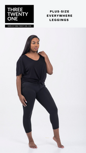 Plus size black leggings (Comes in sizes XL, 1XL, 2XL) • Contoured seams • 4-way stretch • High waisted & ultra soft • Side panel mesh pocket • Tummy control • Moisture-wicking
