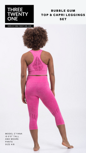 bubble gum pink (Comes in sizes medium and large) • Seamless • 4-way stretch • High waisted & perforated capri leggings • Smooth fit, tummy control • Removable padded sportsbra •Includes top and bottom • Moisture-wicking and breathable