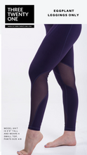 Load image into Gallery viewer, Comes in sizes small, medium, large Eggplant purple leggings  • Ultra soft • 4-way stretch • Mesh panel detailing • Smooth fit • Moisture-wicking and breathable