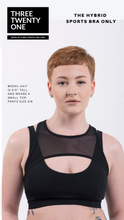 Load image into Gallery viewer, Harness design sportsbra. (Comes in sizes medium and large) • Eco-friendly, constructed using 100% certified recycled nylon • 4-way stretch • Adjustable straps • Removable padding • Moisture-wicking Color: Black