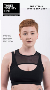 Harness design sportsbra. (Comes in sizes medium and large) • Eco-friendly, constructed using 100% certified recycled nylon • 4-way stretch • Adjustable straps • Removable padding • Moisture-wicking Color: Black
