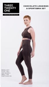 Chocolate brown leggings (Comes in sizes small, medium, large) • Seamless • 4-way stretch • High waisted & perforated leggings • Smooth fit, tummy control • Removable padded sportsbra •Includes top and bottom • Moisture-wicking and breathable