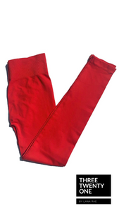 red leggings seamless high-waisted one size