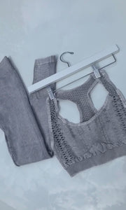 Vintage Stone gray leggings sports bra set athletic yoga wear