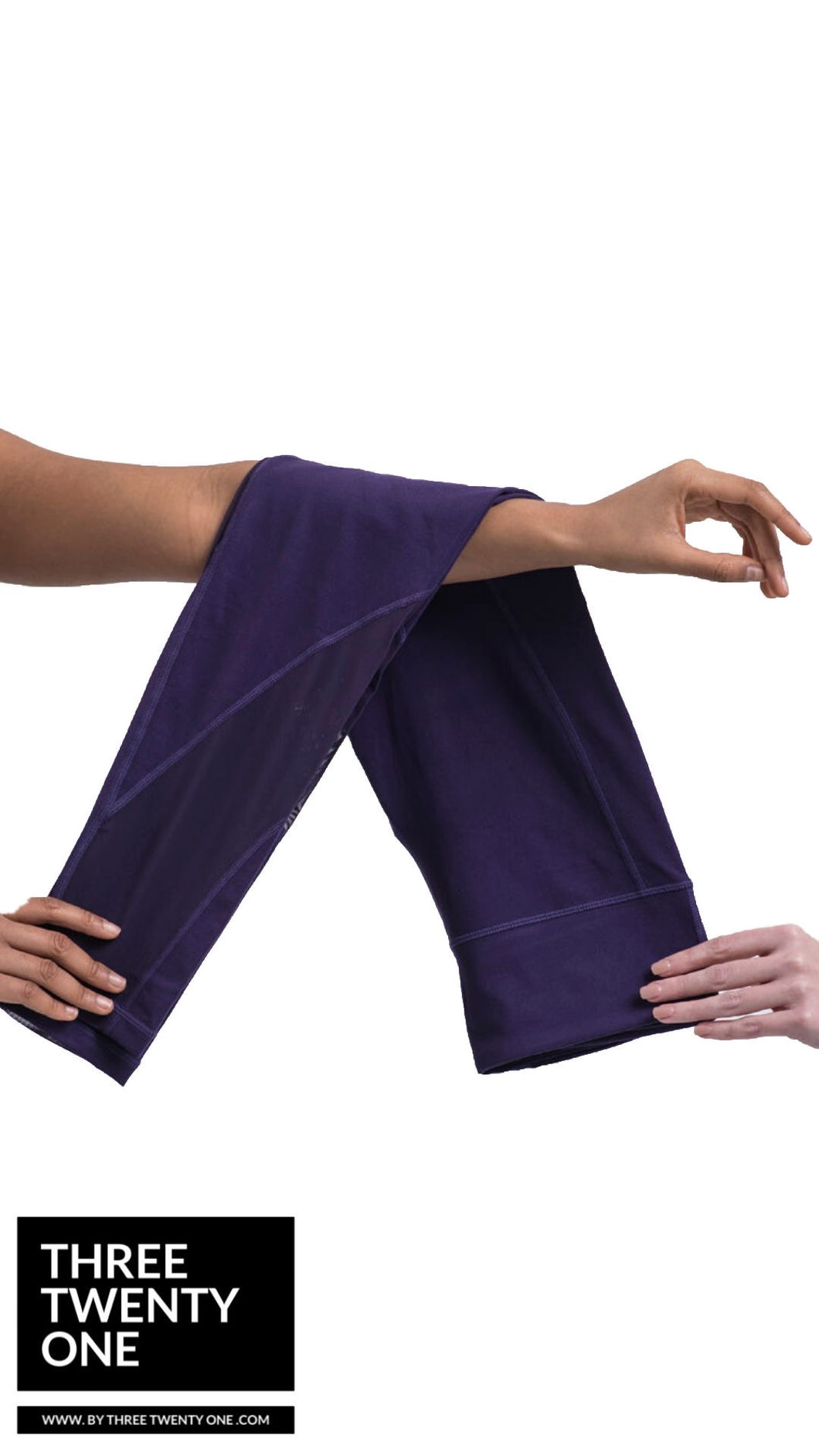 Comes in sizes small, medium, large Eggplant purple leggings  • Ultra soft • 4-way stretch • Mesh panel detailing • Smooth fit • Moisture-wicking and breathable