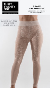 "Tan snakeskin print set (Sold in ""one size"" and fits a size 0 to 12-14) • Super stretchy, luxurious feel • Seamless set, high waisted leggings • Smooth fit, no padding •Includes both piece, leggings and top. Made in USA"