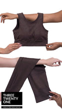 Load image into Gallery viewer, Chocolate brown leggings (Comes in sizes small, medium, large) • Seamless • 4-way stretch • High waisted & perforated leggings • Smooth fit, tummy control • Removable padded sportsbra •Includes top and bottom • Moisture-wicking and breathable