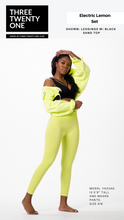 "Load image into Gallery viewer, Neon yellow lime set (Sold in ""one size"" and fits a size 0 to 12-14) • Super stretchy, luxurious feel • Seamless set, high waisted leggings • Top is double-layered • Includes both pieces. Made in USA"
