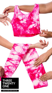 "Tie Dye leggings and top set. One of the season's trending patterns (Sold in ""one size"" and fits a size 0 to 12-14) • Super stretchy, luxurious feel • Seamless set, high waisted leggings • Smooth fit, no padding •Includes both pieces  Made in USA"