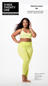 "Neon yellow lime set (Sold in ""one size"" and fits a size 0 to 12-14) • Super stretchy, luxurious feel • Seamless set, high waisted leggings • Top is double-layered • Includes both pieces. Made in USA"