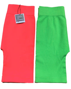 neon biker shorts ribbed seamless high waisted soft pink green