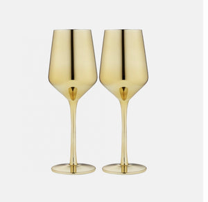 Aurora Wine Glasses Gold set of two