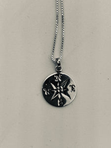 Compass Necklace Sterling Silver Flying Saucers