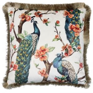 Velvet Cushion peacock