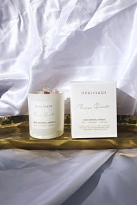 Raw Candle &  Rose Quarts ,Opal & Sage
