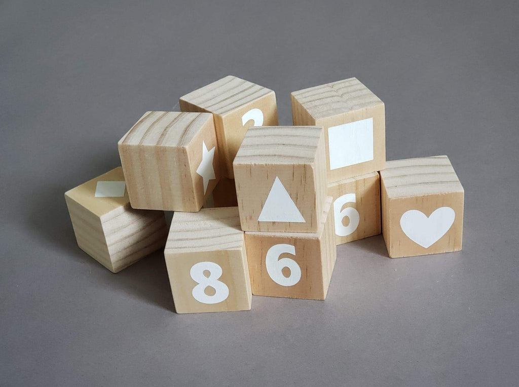 Buy online beautiful and functionable Wooden Number Blocks (0-9) with Shapes (10 Blocks) - OliveWorldCo