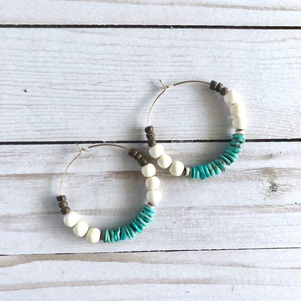 Mexican Turquoise + White Wood Chunky Hoop Earrings