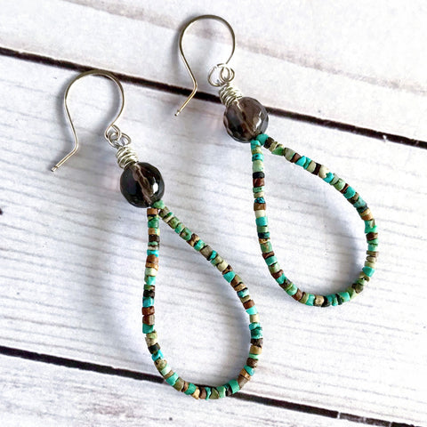 Turquoise Seed Bead + Smoky Quartz Teardrop Hoop Earrings
