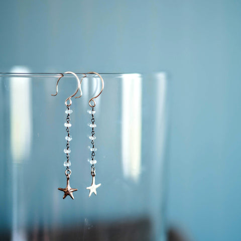 Starfish + Gemstone Earrings