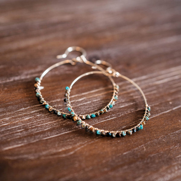 Turquoise Seed Bead Wire-wrapped Hoops