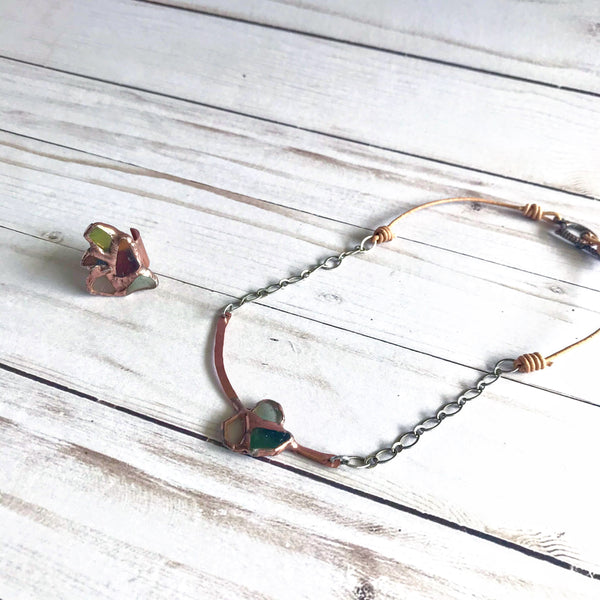 Copper + Sea Glass Ring & Necklace Set