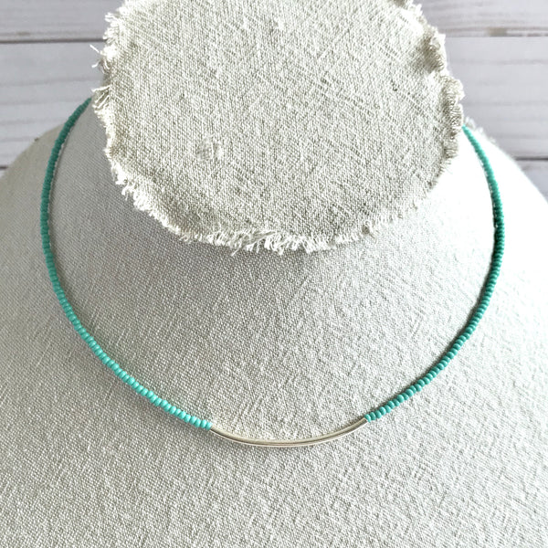 Sterling Silver Tube Necklace (Turquoise or Sand)
