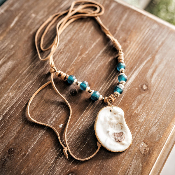 Oyster + Recycled Glass Beads + Leather Necklace