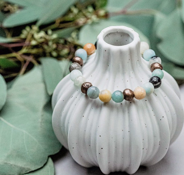Amazonite + Copper Bead Bracelet