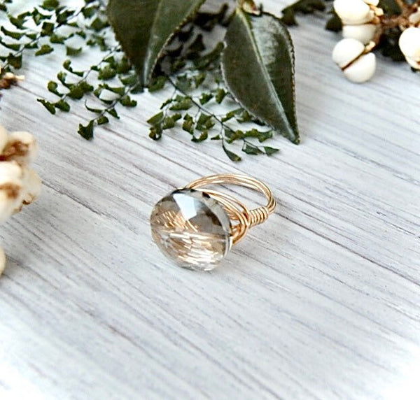 Crystal + 14k Gold Cocktail Ring