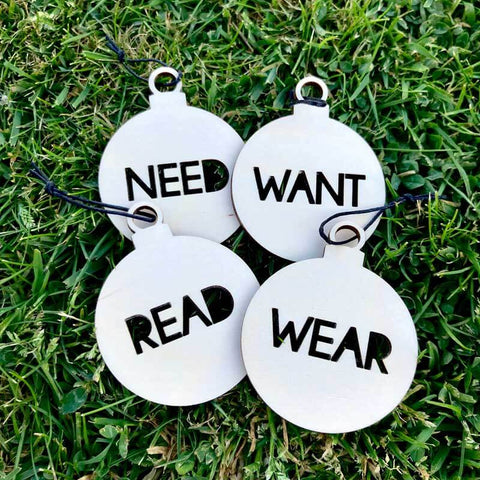 Cut Out Want, Need, Wear, Read, Present Tags