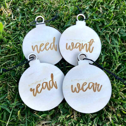 Etched Want, Need, Wear, Read, Present Tags