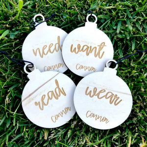 Personalised Etched Want, Need, Wear, Read, Present Tags