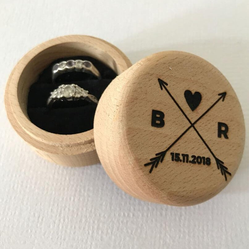 Initial Arrow Wedding Ring Box