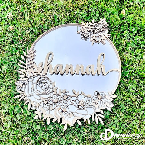 Personalised Floral Mirror Wreath