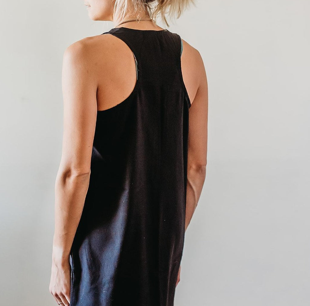 SAM raw silk dress, black